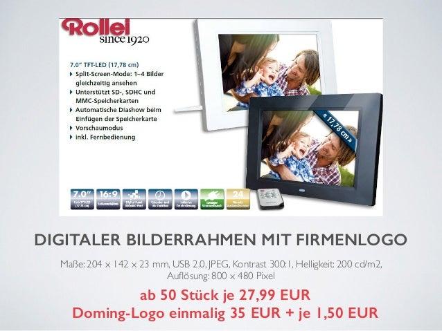 DIGITALER BILDERRAHMEN MIT FIRMENLOGO  Maße: 204 x 142 x 23 mm, USB 2.0, JPEG, Kontrast 300:1, Helligkeit: 200 cd/m2,  Auf...