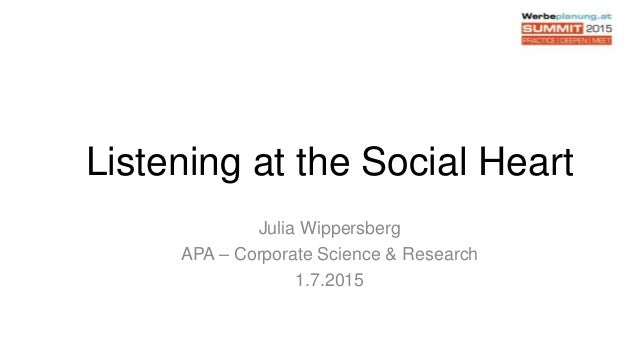 Listening at the Social Heart Julia Wippersberg APA – Corporate Science & Research 1.7.2015