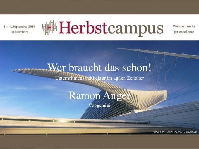 Wer braucht das schon!  Unternehmensarchitektur im agilen Zeitalter  Ramon Anger  Capgemini  Bildquelle: Jens Goetzke / pi...