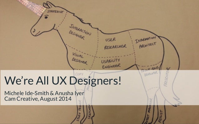 We're All UX Designers!! Michele Ide-Smith & Anusha Iyer Cam Creative, August 2014