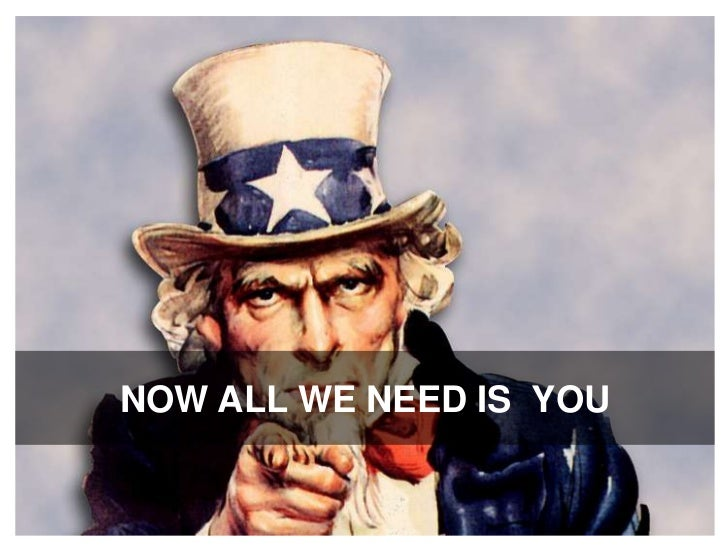 NOW ALL WE NEED IS  YOU<br />