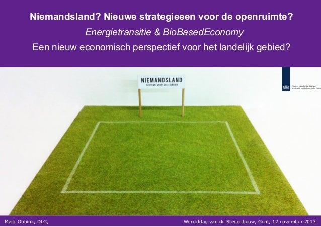 Niemandsland? Nieuwe strategieeen voor de openruimte? Energietransitie & BioBasedEconomy Een nieuw economisch perspectief ...