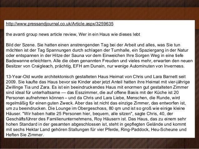 http://www.pressandjournal.co.uk/Article.aspx/3259635the avanti group news article review, Wer in ein Haus wie dieses lebt...
