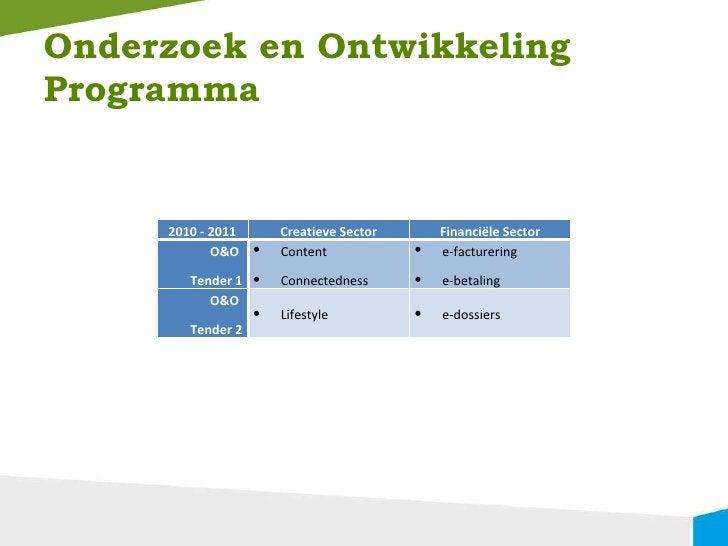 Onderzoek en Ontwikkeling Programma 2010 - 2011 Creatieve Sector Financiële Sector O&O  Tender 1 <ul><li>Content </li></ul...