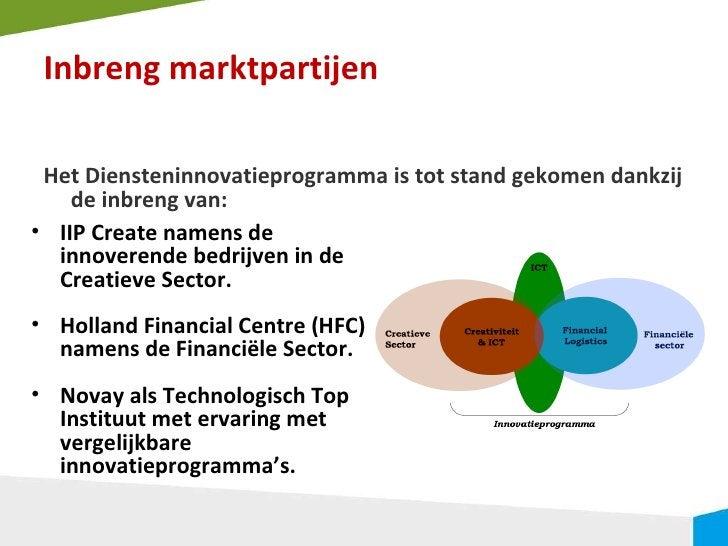 Inbreng marktpartijen <ul><li>Het Diensteninnovatieprogramma is tot stand gekomen dankzij de inbreng van: </li></ul><ul><l...