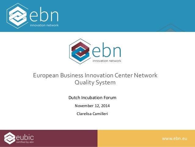 wwwwww..ebbnn..euu  European Business Innovation Center Network  Quality System  Dutch Incubation Forum  November 12, 2014...