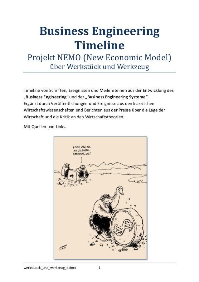 Business Engineering Timeline Projekt NEMO (New Economic Model) über Werkstück ünd Werkzeüg  Timeline von Schriften, Ereig...