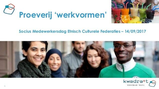 1 Proeverij 'werkvormen' Socius Medewerkersdag Etnisch Culturele Federaties – 14/09/2017