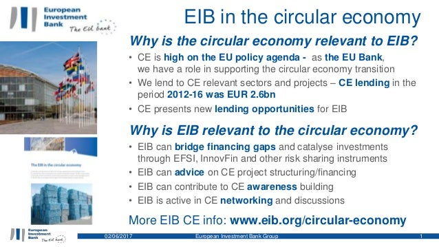 EIB in the circular economy 02/06/2017 European Investment Bank Group 1 Why is the circular economy relevant to EIB? • CE ...