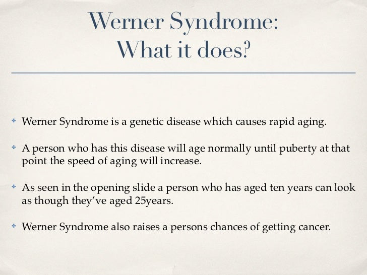 werner syndrome 277700 - werner syndrome wrn at the request of the nih and to ensure long-term funding for the omim project, we must diversify our revenue stream.