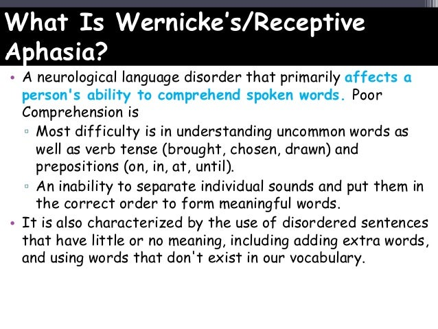 wernicke's aphasia Below you can find more information on the different types of aphasia such as global, broca's, wernicke's, primary progressive, anomic, and mixed non-fluent aphasia.