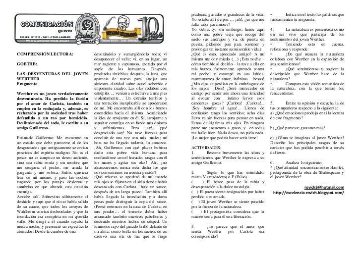 Te JOHANN WOLFGANG VON <br />COMPRENSIÓN LECTORA:<br />GOETHE:<br />LAS DESVENTURAS DEL JOVEN WERTHER<br />Fragmento<br />...