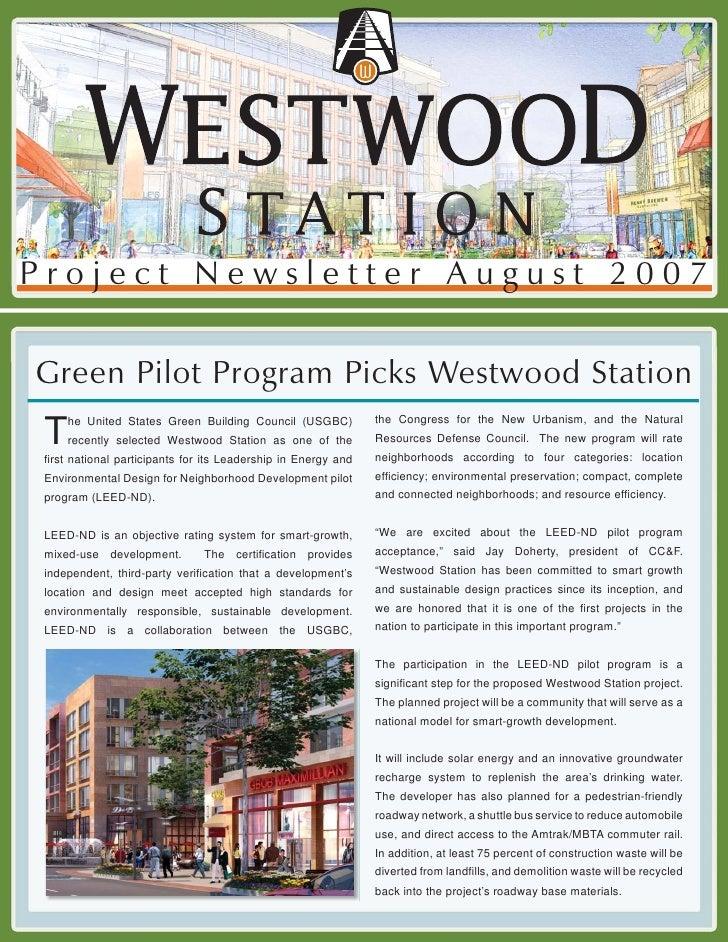 Project Newsletter August 2007  Green Pilot Program Picks Westwood Station                                                ...