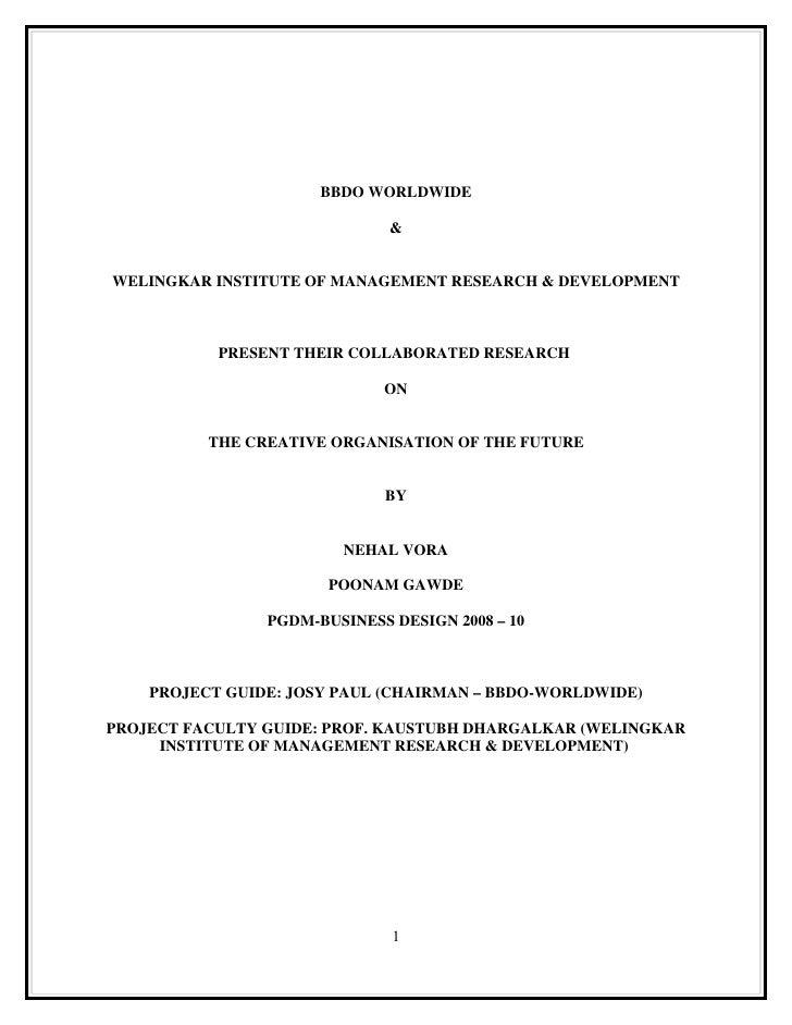 BBDO WORLDWIDE                                &   WELINGKAR INSTITUTE OF MANAGEMENT RESEARCH & DEVELOPMENT               P...