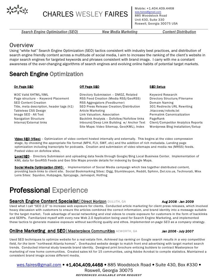 search engine marketing resume - Selo.l-ink.co