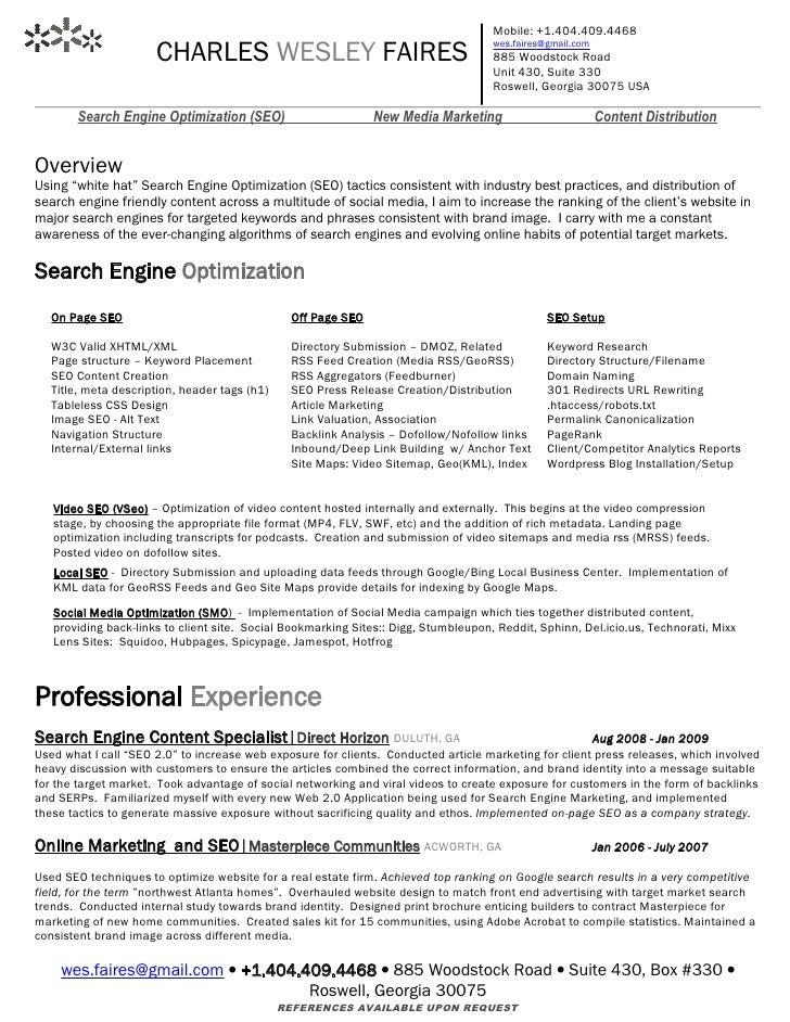 Mobile: +1.404.409.4468 CHARLES WESLEY ...  Marketing Resume Keywords