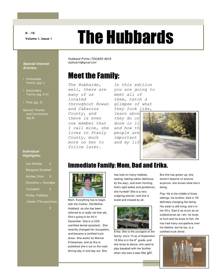9-  -10Volume 1, Issue 1The Hubbards<br />The Hubbards, well, there are many of us located throughout Rowan and Cabarrus C...