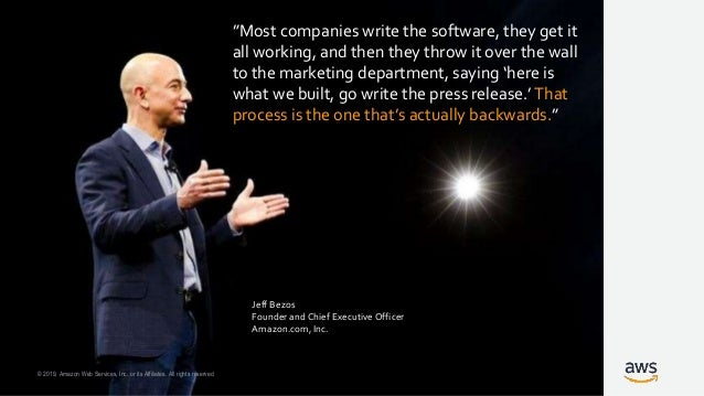 © 2019, Amazon Web Services, Inc. or its Affiliates. All rights reserved. Working Backwards is a mechanism Use it to get c...