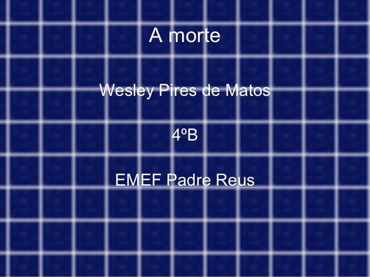A morte Wesley Pires de Matos 4ºB EMEF Padre Reus