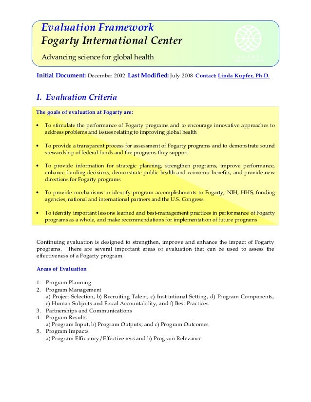 Evaluation Framework Fogarty International Center Advancing science for global health Initial Document: December 2002 Last...