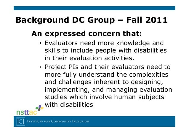 evaluation paper on people with disabilities Program evaluation model 9-step process by  evaluation questions are specific to your program and goals  represent people working in an occupation.