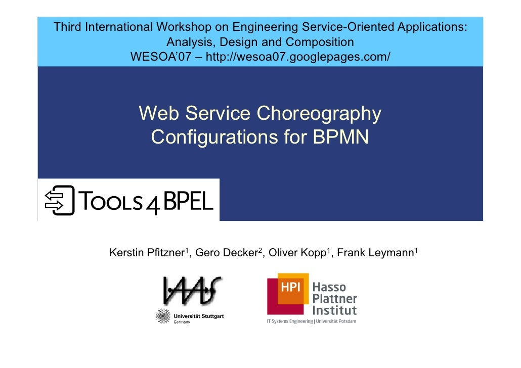 Third International Workshop on Engineering Service-Oriented Applications:                      Analysis, Design and Compo...