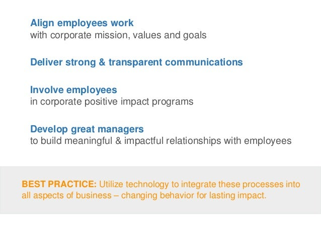 Align employees work with corporate mission, values and goals Deliver strong & transparent communications Involve employee...