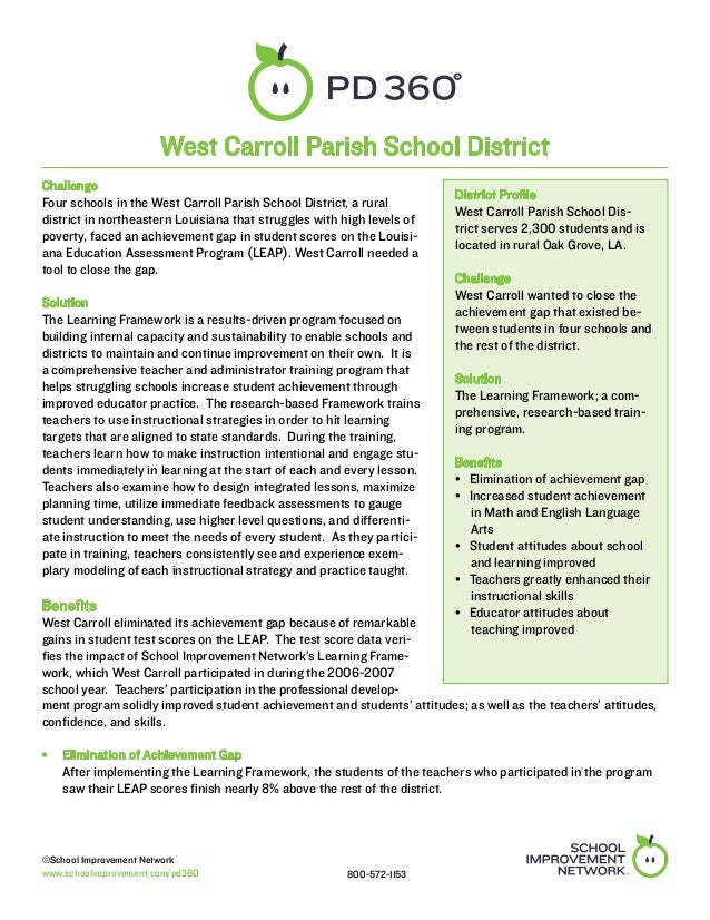 West Carroll Parish School DistrictChallenge                                                                         Distr...
