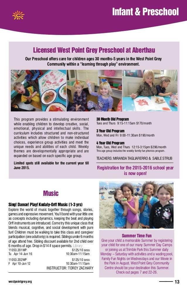 westpointgrey.org —— 13 Infant & Preschool Licensed West Point Grey Preschool at Aberthau This program provides a stimulat...