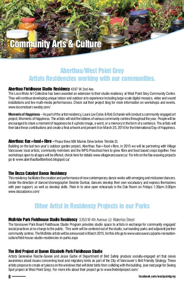Community Arts & Culture Community Arts & Culture Aberthau/West Point Grey Artists Residencies working with our communitie...