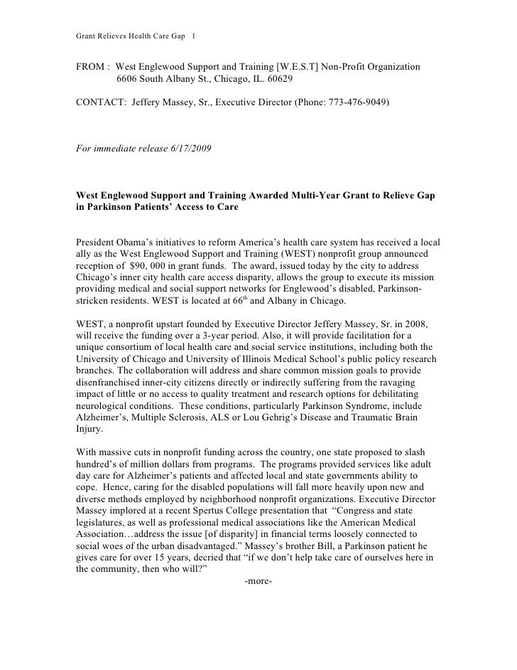 Grant Relieves Health Care Gap 1   FROM : West Englewood Support and Training [W.E.S.T] Non-Profit Organization        660...