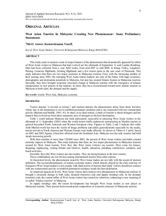 8 Journal of Applied Sciences Research, 9(1): 8-16, 2013 ISSN 1819-544X This is a refereed journal and all articles are pr...