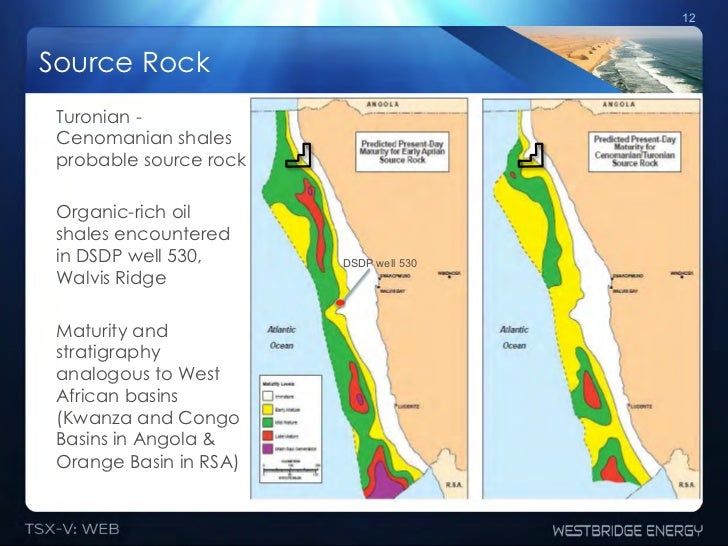 12Source Rock Turonian - Cenomanian shales probable source rock Organic-rich oil shales encountered in DSDP well 530,     ...