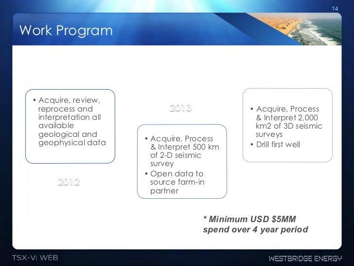 14Work Program •Acquire, review,   reprocess and              2013               •Acquire, Process   interpretation all ...