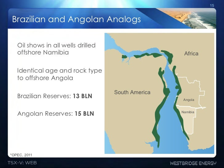15Brazilian and Angolan Analogs   Oil shows in all wells drilled   offshore Namibia                                  Afric...