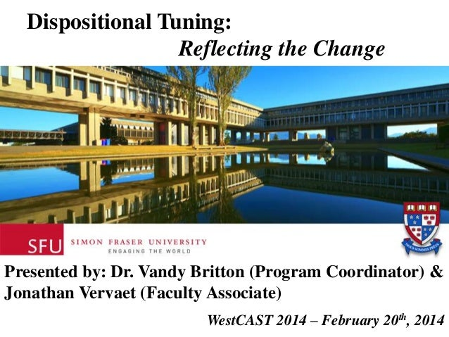 Dispositional Tuning: Reflecting the Change  Presented by: Dr. Vandy Britton (Program Coordinator) & Jonathan Vervaet (Fac...