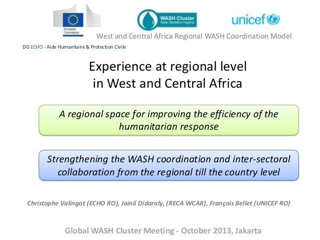 West and Central Africa Regional WASH Coordination Model DG ECHO - Aide Humanitaire & Protection Civile  Experience at reg...