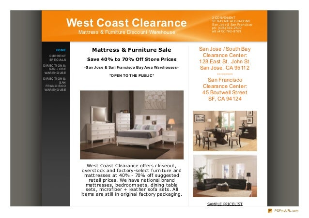 West Coast Clearance Mattress Furniture Warehouse Clearance Bed