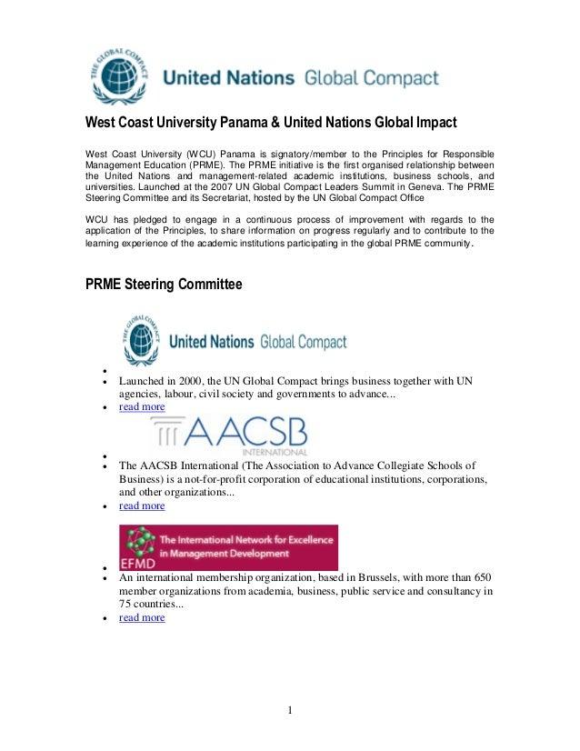 1 West Coast University Panama & United Nations Global Impact West Coast University (WCU) Panama is signatory/member to th...