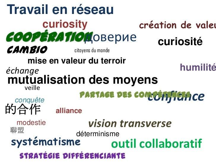 Travail en réseau<br />curiosity<br />création de valeur<br />доверие<br />coopération<br />curiosité<br />cambio<br />cit...