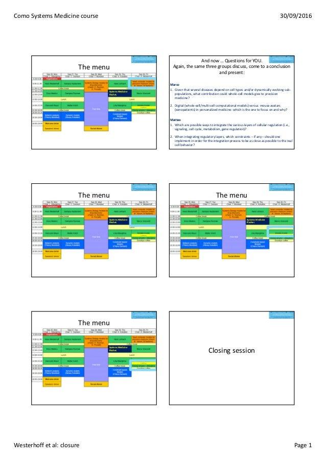 ComoSystemsMedicinecourse 30/09/2016 Westerhoffetal:closure Page1 Themenu SystemsMedicine Flashes CaSyMform And...