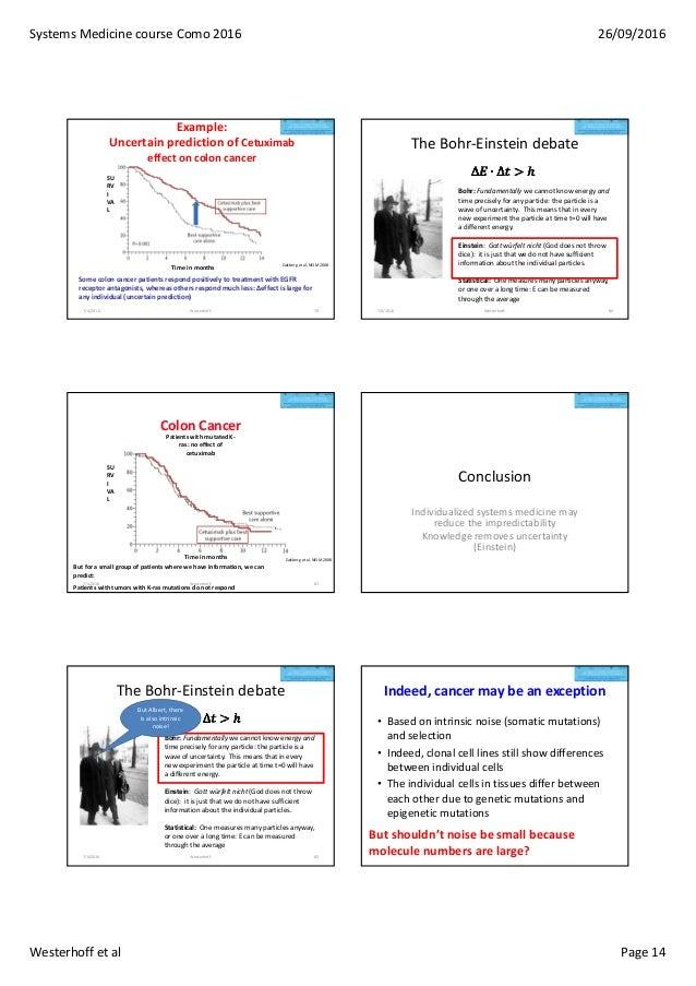 SystemsMedicinecourseComo2016 26/09/2016 Westerhoffetal Page14 Example: Uncertain prediction of Cetuximab effect on...