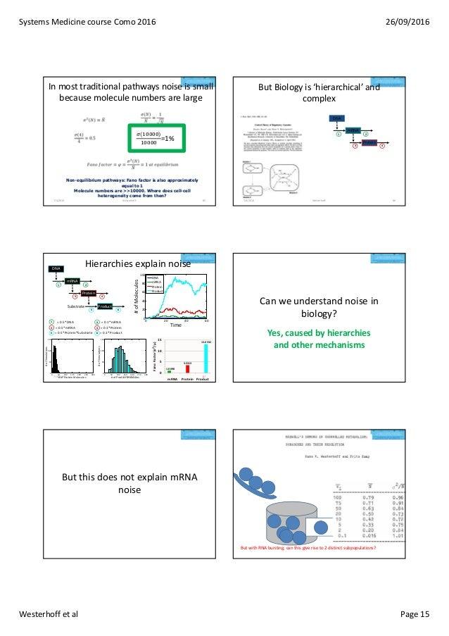 SystemsMedicinecourseComo2016 26/09/2016 Westerhoffetal Page15 Inmosttraditionalpathwaysnoiseissmall because...