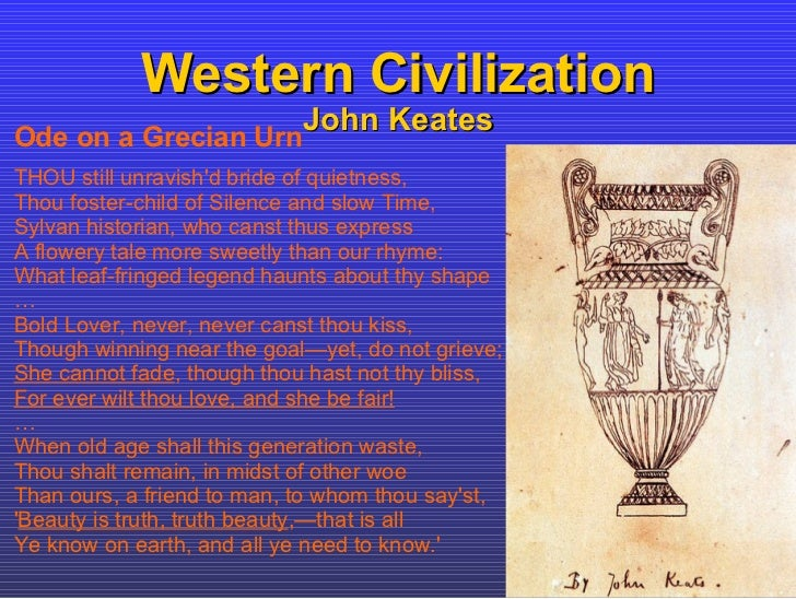 """ode on a grecian urn john keates Exploring john keats' philosophy of art in """"ode on a grecian urn  in ode on a grecian urn, the opposite of that is attained everything is permanent."""
