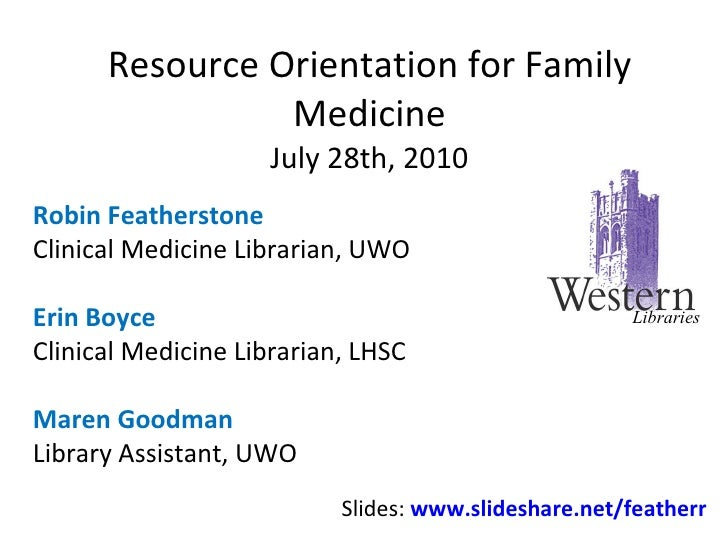 Resource Orientation for Family Medicine