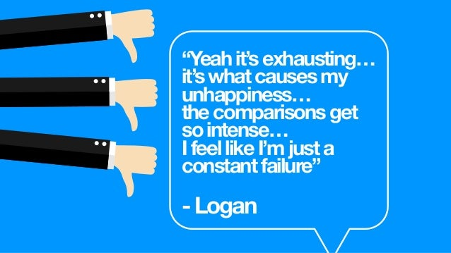 """""""That'swhat,Iassume,[is] causingmygreatest dissatisfactionat[college]. Seeingmylifeincomparison toothers."""" -Logan @paulgor..."""