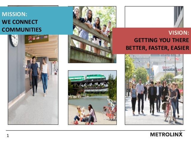 1 MISSION: WE CONNECT COMMUNITIES VISION: GETTING YOU THERE BETTER, FASTER, EASIER