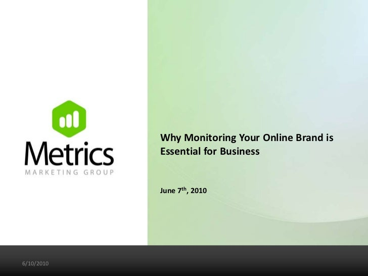 Why Monitoring Your Online Brand is Essential for Business<br />June 7th, 2010<br />6/7/10<br />