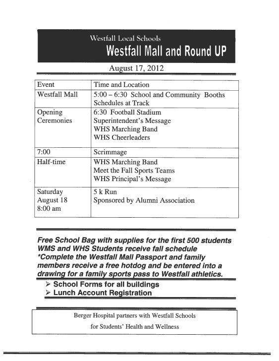 Westfall Mall Flyer