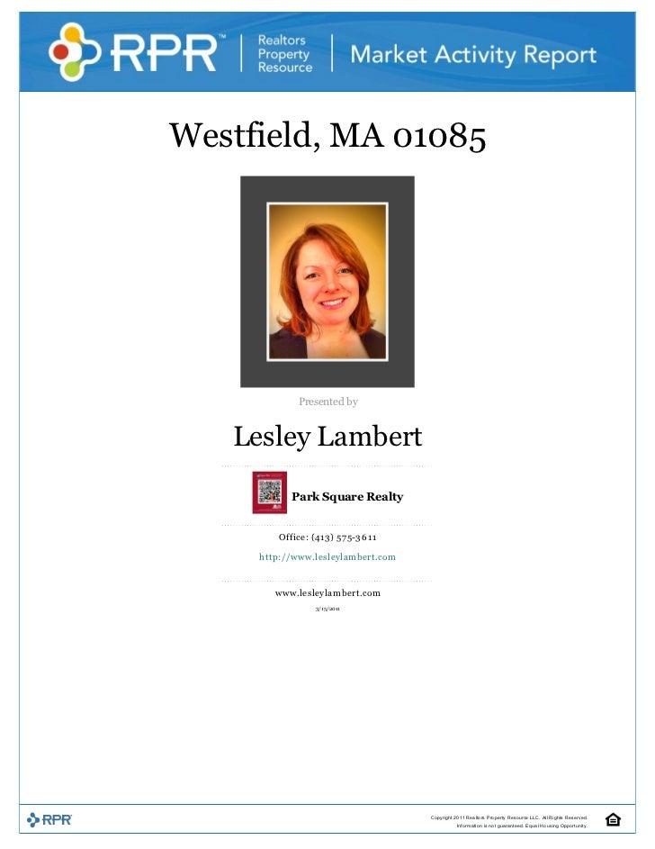 Westfield,MA01085                                                           Presentedby       LesleyLambert      ...